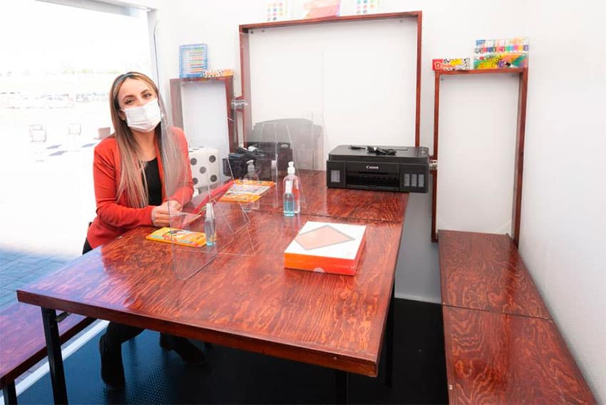 Esparza inside her new classroom.