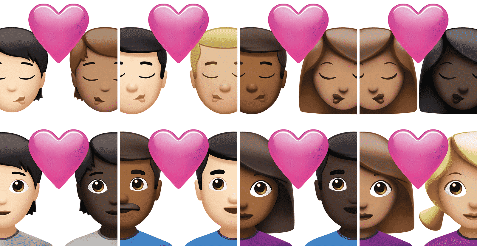 New couple emojis with skin variant combinations.nbsp