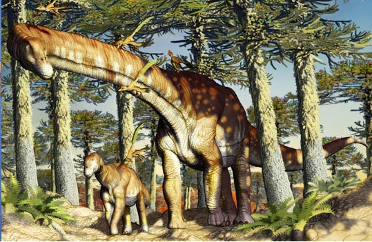An artist's conception of the Ninjatitan zapatai dinosaur, which roamed the Earth some 140 million years ago.