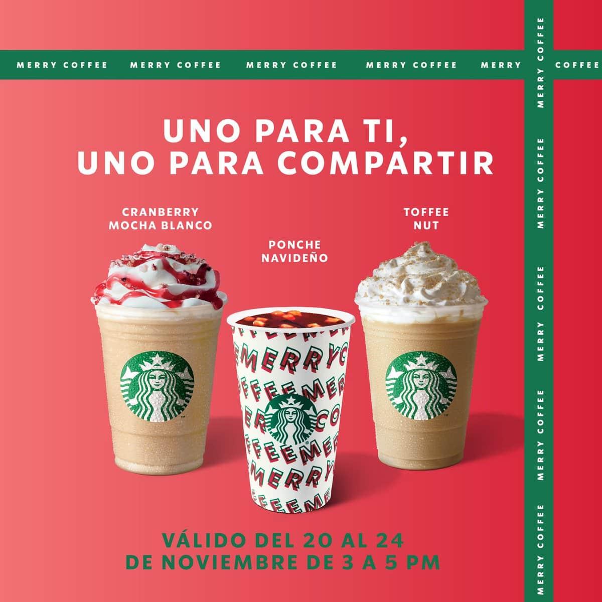 """Starbucks México on Twitter: """"Recárgate de buenos deseos con una bebida de  temporada (pst, nosotros te invitamos la segunda 😁). Del 20 al 24 de  noviembre de 3 a 5 p. m.… https://t.co/hB3ziwEuDp"""""""